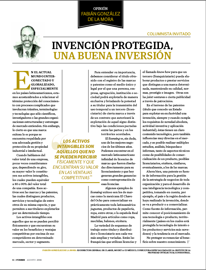Fabian Gonzalez, General Manager of Clarke, Modet & Cº Mexico, a guest columnist of Forbes Central America Magazine